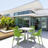 Air Mix Square Dining Set with White Table and 4 Tropical Green Chairs
