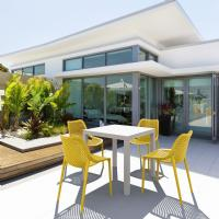 Air Mix Square Dining Set with White Table and 4 Yellow Chairs
