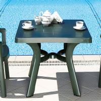 Viva Resin Square Dining Table 31 inch Dark Green ISP168-GRE - 1