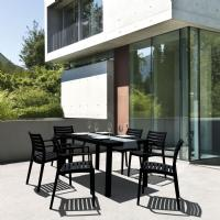Artemis Resin Rectangle Outdoor Dining Set 7 Piece with Arm Chairs Black ISP1862S-bla