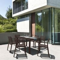 Artemis Resin Rectangle Outdoor Dining Set 7 Piece with Arm Chairs Brown