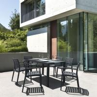 Artemis Resin Rectangle Outdoor Dining Set 7 Piece with Arm Chairs Dark Gray