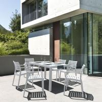 Artemis Resin Rectangle Outdoor Dining Set 7 Piece with Arm Chairs White