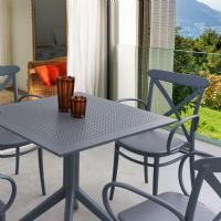 Cross XL Patio Dining Set with 4 Chairs Dark Gray ISP2561S-DGR - 1
