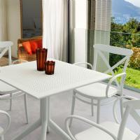 Cross XL Patio Dining Set with 4 Chairs White ISP2561S-WHI - 1