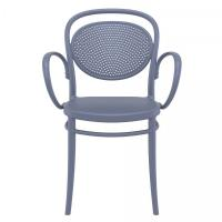 Marcel XL Resin Outdoor Arm Chair Dark Gray ISP258-DGR - 2