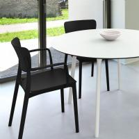 Lisa Patio Dining Set with Black Chairs and White Maya Round Table 47 inch ISP6751S-WHI-BLA - 1