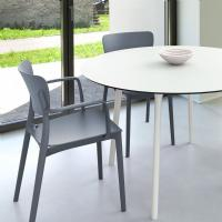 Lisa Patio Dining Set with Dark Gray Chairs and White Maya Round Table 47 inch ISP6751S-WHI-DGR - 1