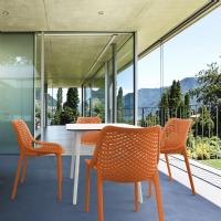 Air Maya Square Dining Set with White Table and 4 Orange Chairs