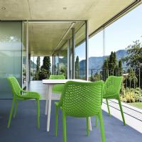 Air Maya Square Dining Set with White Table and 4 Tropical Green Chairs