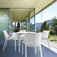 Air Maya Square Dining Set with White Table and 4 White Chairs