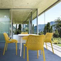 Air Maya Square Dining Set with White Table and 4 Yellow Chairs