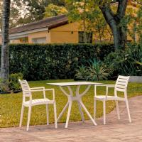 Artemis Dining Set with 2 Arm Chairs White ISP7000S-WHI