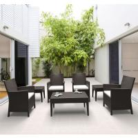 California Wickerlook Resin Patio Seating Set 7 Piece Brown