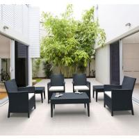 California Wickerlook Resin Patio Seating Set 7 Piece Dark Gray