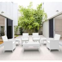 California Wickerlook Resin Patio Seating Set 7 Piece White