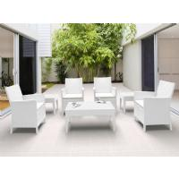 California Wickerlook Resin Patio Seating Set 7 Piece White ISP8062S-WH - 7