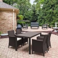 California Wickerlook Resin 55 inch Patio Dining Set 5 Piece Brown