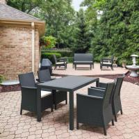 California Wickerlook Resin 55 inch Patio Dining Set 5 Piece Dark Gray