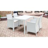 California Wickerlook Resin 55 inch Patio Dining Set 5 Piece White ISP8064S-WH - 5
