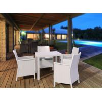 California Wickerlook Square 31 inch Patio Dining Set 5 Piece White ISP8065S-WH - 5