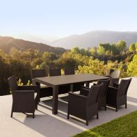California Extendable Dining Set 9 Piece Brown