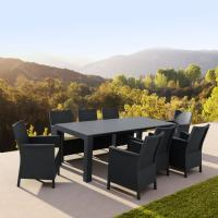 California Extendable Dining Set 9 Piece Dark Gray