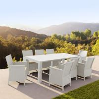 California Extendable Dining Set 9 Piece White