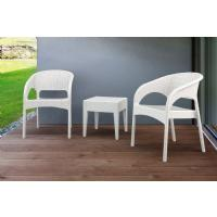 Panama Wickerlook Bistro Set 3 Piece White ISP8081S-WH - 5