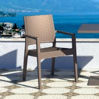 Ibiza Resin Wickerlook Dining Arm Chair Brown ISP810-BR - 5