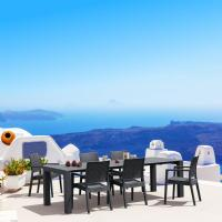 Ibiza Extendable Wickerlook Dining Set 7 piece Dark Gray
