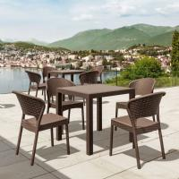 Daytona Wickerlook Square Patio Dining Set 5 Piece Brown