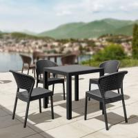 Daytona Wickerlook Square Patio Dining Set 5 Piece Dark Gray