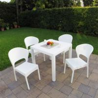 Daytona Wickerlook Square Patio Dining Set 5 Piece White