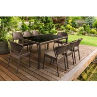 Daytona Glass Top Rectangle Dining Set 9 Piece with Brown ISP8185S-BR - 3