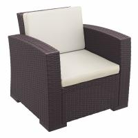 Monaco Wickerlook Club Chair Brown with Cushion