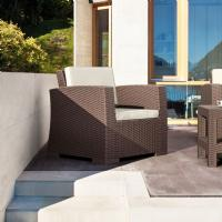 Monaco Wickerlook Club Chair Brown with Cushion ISP831-BR - 7
