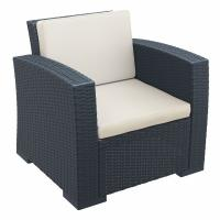 Monaco Wickerlook Club Chair Dark Gray with Cushion