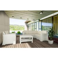 Monaco Wickerlook Corner Sectional 5 Piece with Cushion White ISP834-WH-BEI - 7