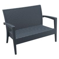 Miami Resin Wickerlook Loveseat Dark Gray
