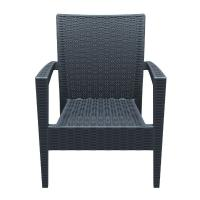 Miami Resin Wickerlook Club Chair Dark Gray ISP850-DG - 3