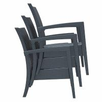 Miami Resin Wickerlook Club Chair Dark Gray ISP850-DG - 6
