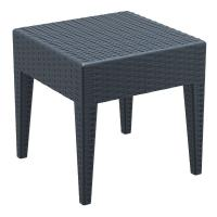 Miami Square Resin Wickerlook Side Table Dark Gray