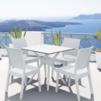 Ibiza Florida Square Patio Dining Set 5 Piece White ISP8631S-WH - 6