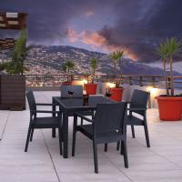 Miami Wickerlook Resin Patio Dining Set 5 Piece Dark Gray