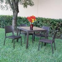 Miami Wickerlook Square Dining Set 5 Piece Brown