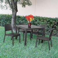 Miami Wickerlook Resin Patio Dining Set 5 Piece Dark Gray with Side Chairs