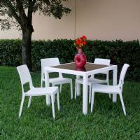 Miami Wickerlook Square Dining Set 5 Piece White ISP992S-WH