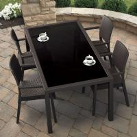 Miami Wickerlook Rectangle Dining Set 5 Piece Brown