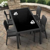 Miami Wickerlook Resin Patio Dining Set 5 Piece Rectangle Dark Gray
